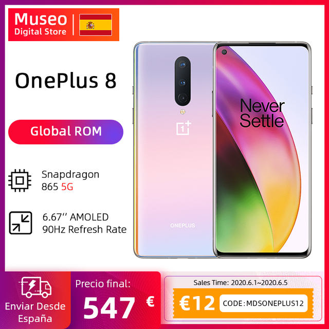 $ US $607.92 Global Rom OnePlus 8 5G Smartphone Snapdragon 865 Octa Core 6.55'' 90Hz AMOLED Screen 48MP Triple Cams 4300mAh Warp Charge 30T
