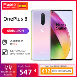 Globale Rom OnePlus 8 5G Smartphone Snapdragon 865 Octa Core 6.55 ''90Hz AMOLED Bildschirm 48MP Triple Cams 4300mAh Warp Ladung 30T