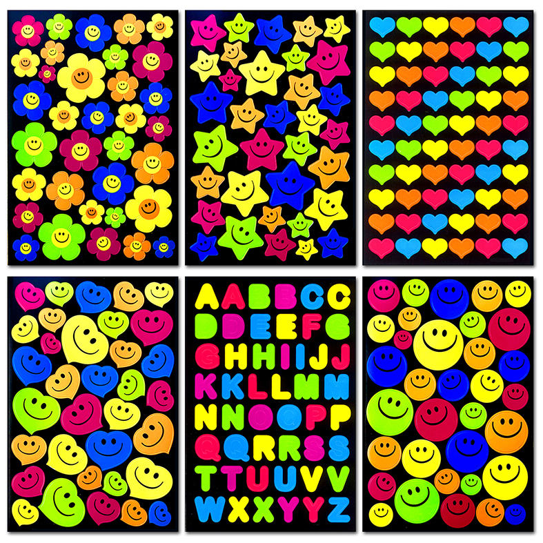 240pcs/Pack 5 Color 6 Different Style Reward Children Kids Cute Smiley Faces Teacher * Stickers High Quality Toy Wholesale