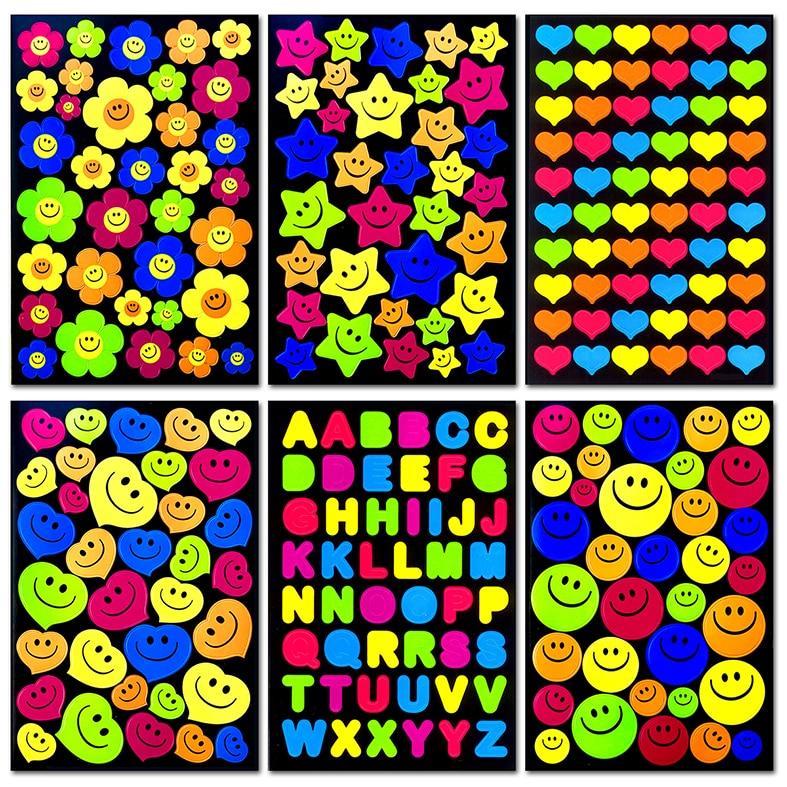 240pcs/Pack 5 Color 6 Different Style Reward Children Kids Cute Smiley Faces Teacher * Stickers High Quality Toy Wholesale