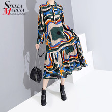2019 Korean Style Women Autumn Full Sleeve Multicolor Long Shirt Dress Sashes Geometrical Print Lady Elegant Party Dress 5610(China)