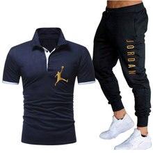 2 peça conjunto masculino jordan 23 camiseta + calças 2012 verão camisa polo calças de manga curta roupas esportivas terno masculino camisa de basquete