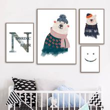Nordic Bear Smile Carton Animal  Wall Art Print Canvas Painting Poster And Prints Pictures Kids Room Decor
