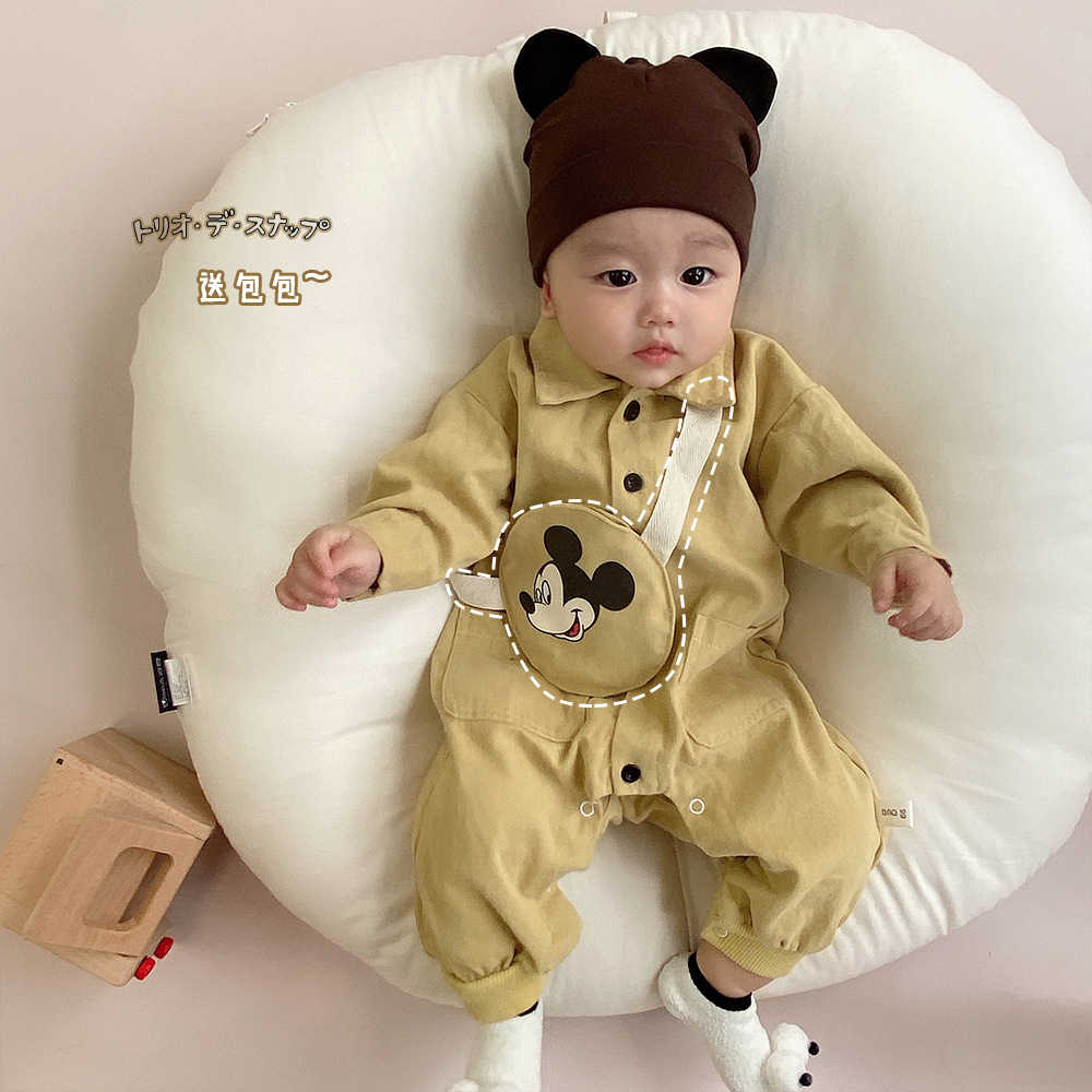 미키 새 아기 소녀 소년 옷 긴 소매 전반적인 가을 봄 패션 신생아 유아 Romper 점프 슈트 면화 유아 복장
