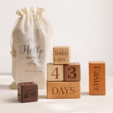 Baby Milestone Cards Wooden Block With Box Set Baby Photography Milestone Memorial Monthly Newborn Photography Props Set