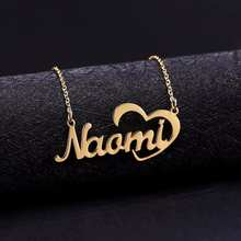 Big Heart Name Necklace Pendant Stainless Steel Jewelry Custom Nameplate Love Choker Necklaces For Women Girl Christmas Gifts(China)