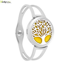 Tree Bracelet Aromatherapy Essential Oils Diffuser Locket Bangle 316L Stainless Steel drop shipping