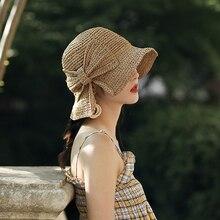 Летняя шляпа от солнца с бантом, женские пляжные соломенные шляпы