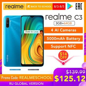 Перейти на Алиэкспресс и купить Realme C3 глобальная версия 3 Гб 64 Гб мобильный телефон Helio G70 12MP AI камера 6,5 дюймHD + мини-экран 5000 мАч аккумулятор Play Store NFC