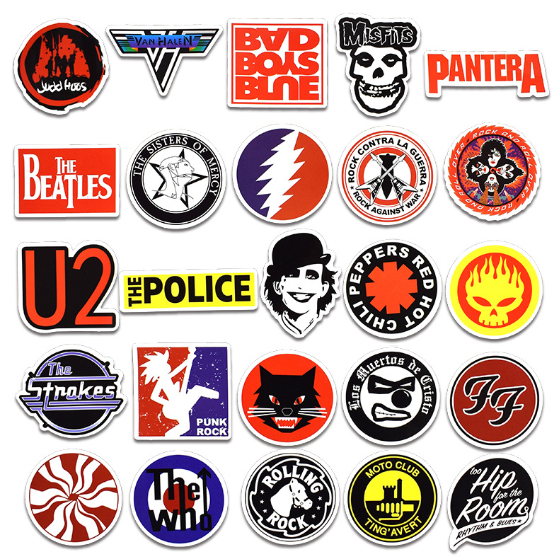Pegatinas de hip hop Rock /& Roll personaje de dibujos animados banda de graffiti pegatina juguetes para port/átil patineta impermeable calcoman/ías de bicicleta 50 unids
