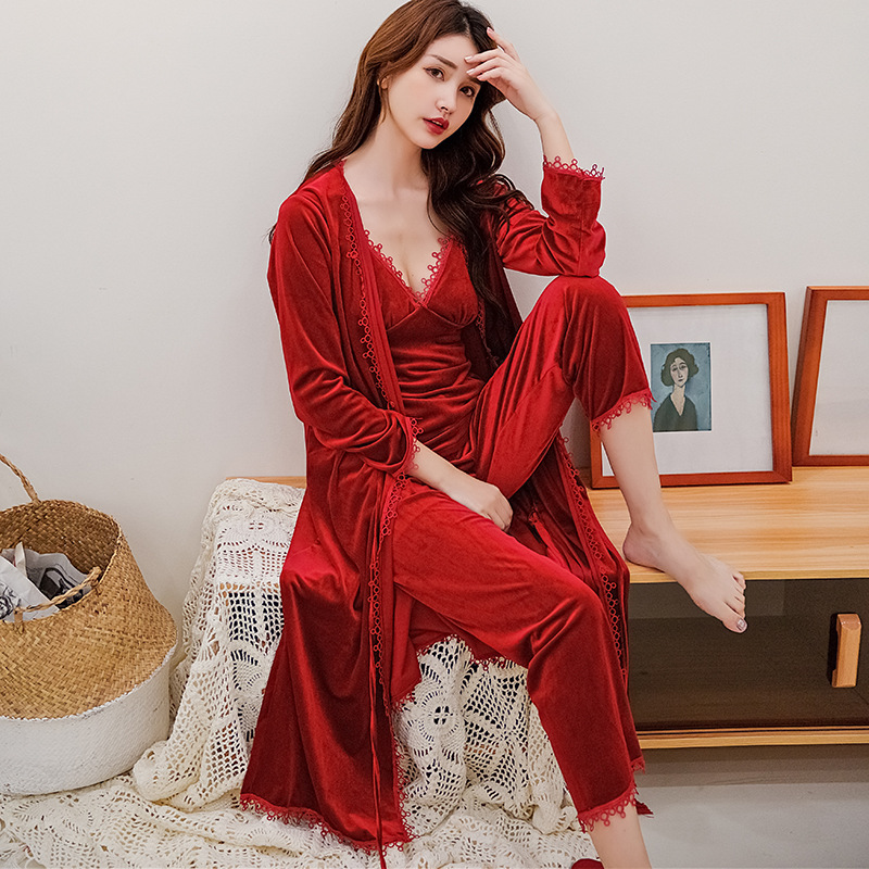 4 Piece Velvet Pajama Set Sexy V-neck Pyjamas Women Bathrobe Sets Tops And Blouses Nightwear Kimono Bridesmaid Robes Set Pink