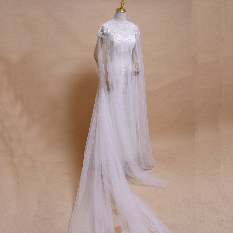 Wedding Jacket Wraps Beads Tulle Shrug Bridal Bolero Jacket Capes Sheer Capelets Women Belero Plus Size Poncho Long Cape J05