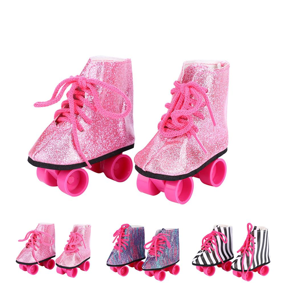 1 Pair Pink Doll Handmade Skate Shoes Fit 43cm Born Baby Doll Clothes 18 Inch Doll Shoes Children Best Birthday Gifts
