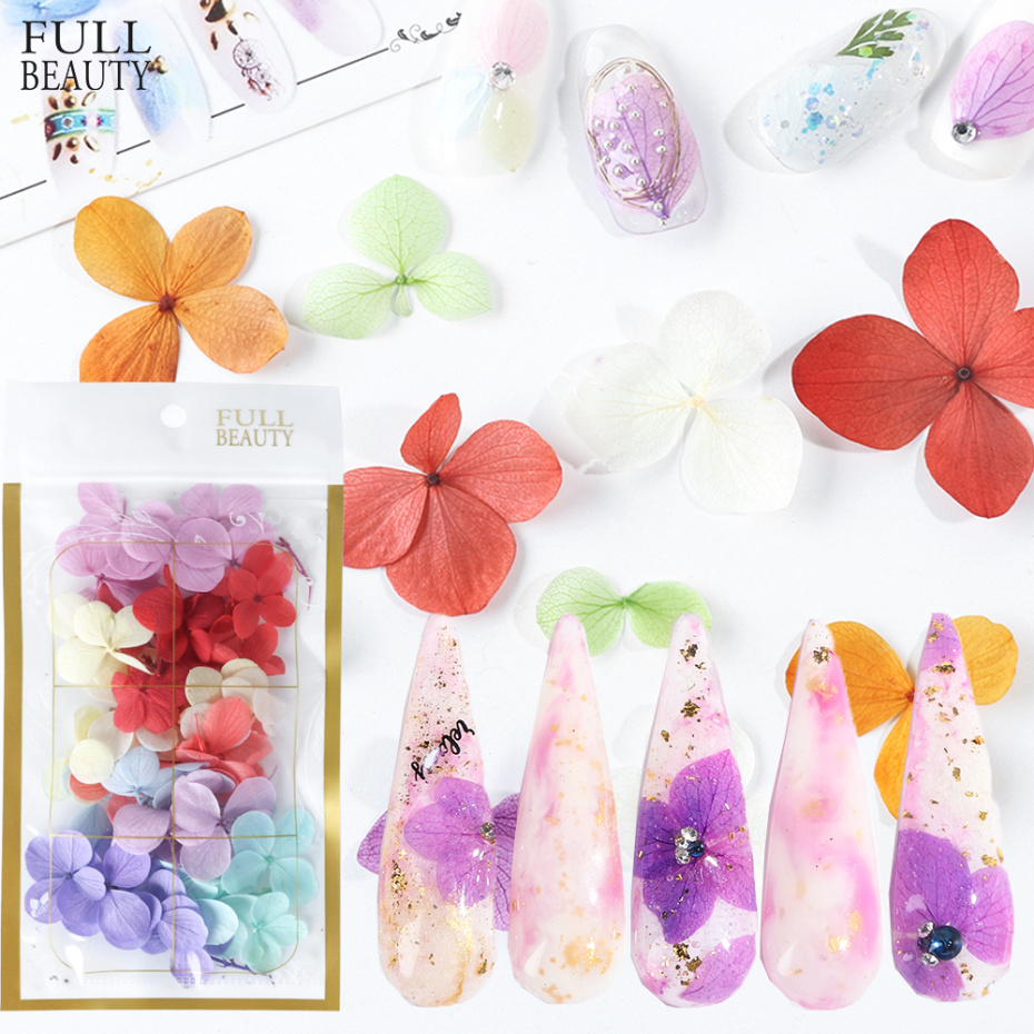 Real Dried Flower Nail Art Decoration 3D Natural Floral Leaf Stickers Manicure Polish Summer Dry Plants DIY Accessories CH980-1