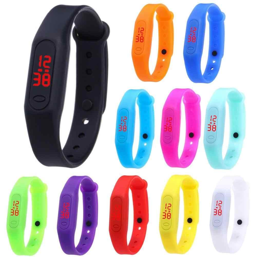 بسيطة الرقمية الرجال النساء ساعات يد رياضية عادية الأبيض LED الإلكترونية الرقمية لون الحلوى سيليكون ساعة معصم ل Childr