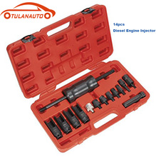 TULANAUTO 14pcs Universal Diesel Engine Injector Puller Repair Tool Sensor Removal Sleeve Car Special Disassembly
