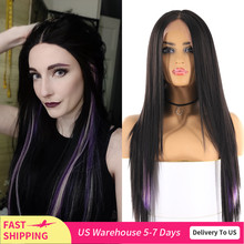 Long Straight Synthetic Womens Wigs Black Purple Yaki Straight Lace Front Hair Wig Middle Part Heat Resistant Fiber Wigs X TRESS