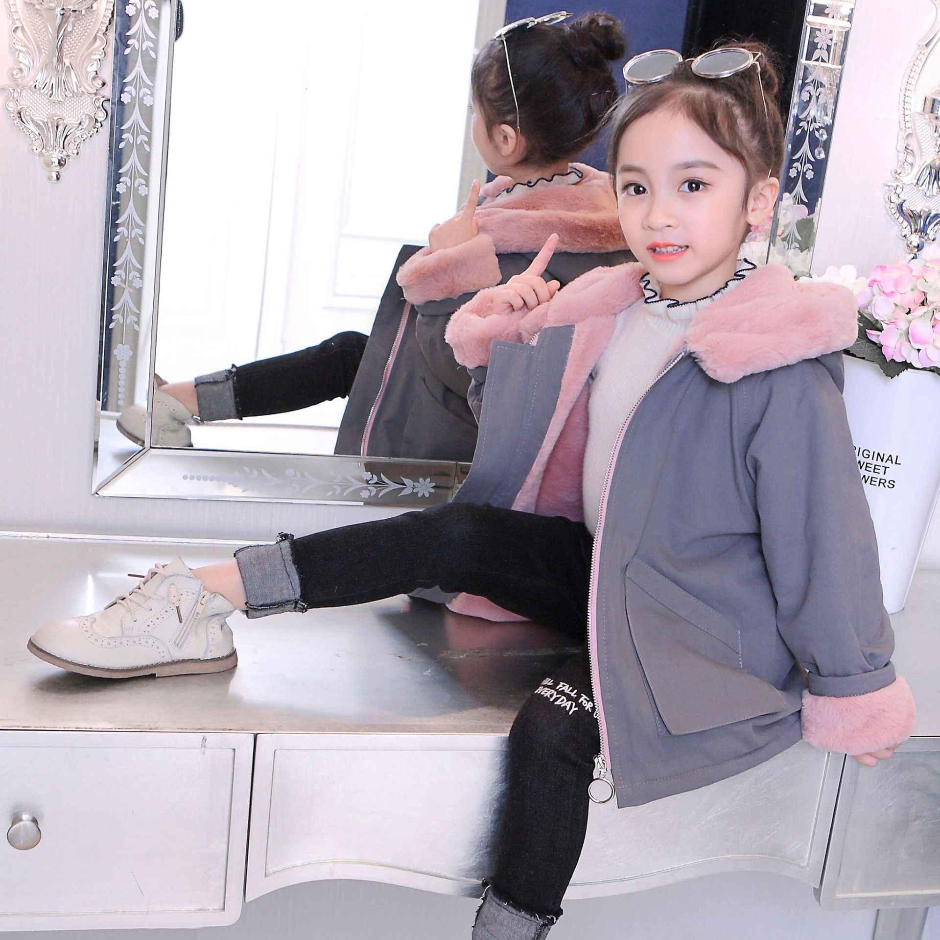 Bayi Gadis Pakaian 2020 Baru Musim Dingin Menebal Mantel Wanita Anak-anak Panjang Ke Bawah Jactet anak Wol Berkerudung Snowsuit Bulu Imitasi pakaian luar