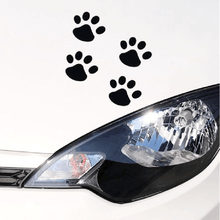 1 pçs adesivo de carro legal design pata animal cão gato urso pé impressões pegada decalque adesivos de carro prata ouro vermelho