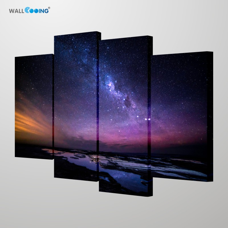 Home Decoration Canvas Painting Bedroom Wall Poster Night Starry Sky Scenery Aurora Dark Night Meteor Photography Painting