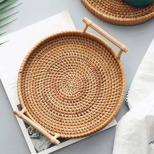 Storage-Tray Wicker-Basket Rattan Fruit Bread Food Hand-Woven with Display