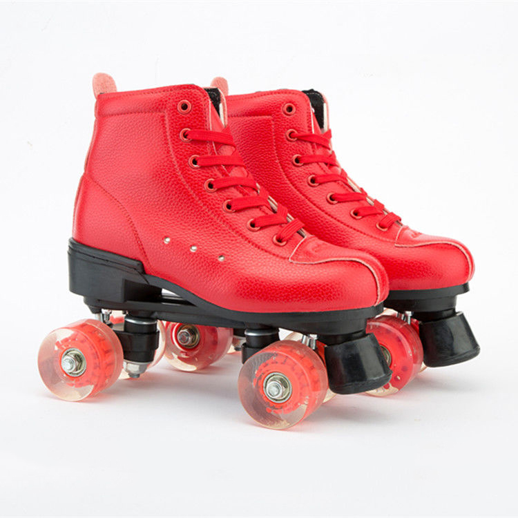 Red Artificial Leather Double Row Roller Skates Shoes With Durable PU Flash Wheel Brake Woman Man Outdoor Sports Shoes