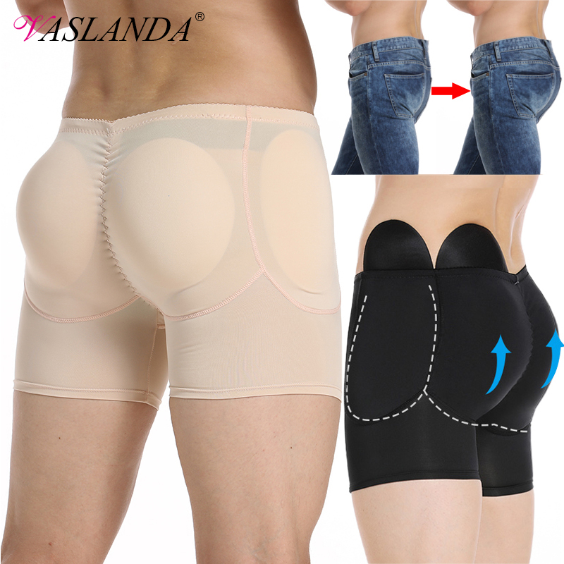 VASLANDA Men Padded Buttock Enhancer Shapewear Slimming Boxer Briefs Butt Lifter Panties Shaper Tummy Control Underwear Boxers