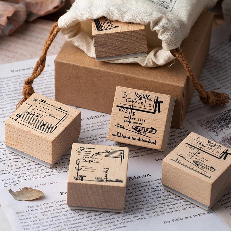 1pc Vintage Cloth Bag Wood Stamp DIY Wooden Rubber Stamps For Scrapbooking Stationery Scrapbooking Standard Stamp Planner
