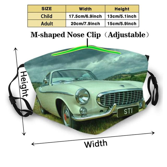 P1800 Coupe Anti Dust Face Mask Washable Filter ReusableP1800 White Coupe Roger Moore Saint Sports Car Swedish 1