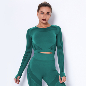 Woman's Sportware Sexy Long Sleeve Mesh Crop Top Shirts Seamless Yoga Clothing Suit For Fitness Running Gym Workout Jogging Top
