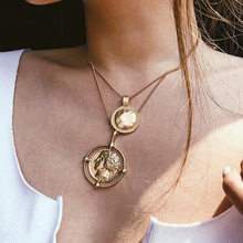 Gold-Tone Varved Coin Necklace with Numbers Decoration Long Chain Double Layer Necklace Pendant Personalized Female Necklace(China)