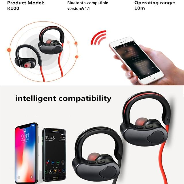 Sports Bluetooth-compatible Earphone Wireless Headphones Stereo Headset K98 K100 Wireless Earbuds HiFI Bass Hands-Free With Mic 3