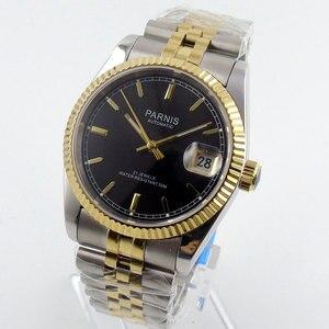 Image 4 - Парнис 36 мм Роскошные 5ATM золотого, черного или белого цвета, циферблат автоматические часы для мужчин унисекс сапфировое стекло Дата Лупа юбилейный браслет