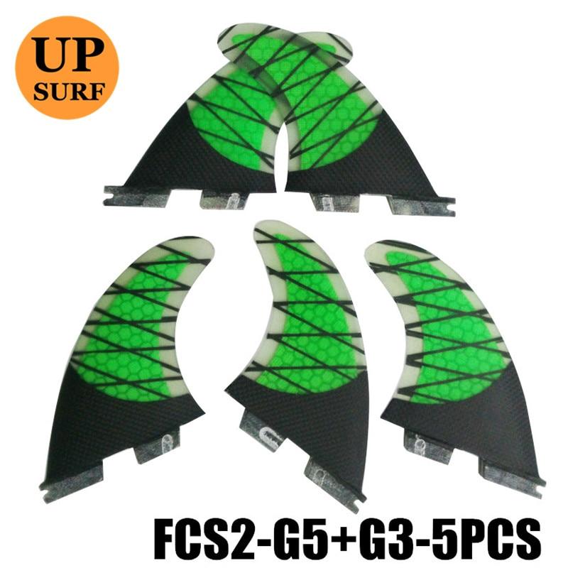 FCS II Carbon Fins G5+G3 Tri-quad Fins Surfboards Fin 5 Fins Per Set Honeycomb Fiberglass Quilhas Prancha De Surf Paddling Fin