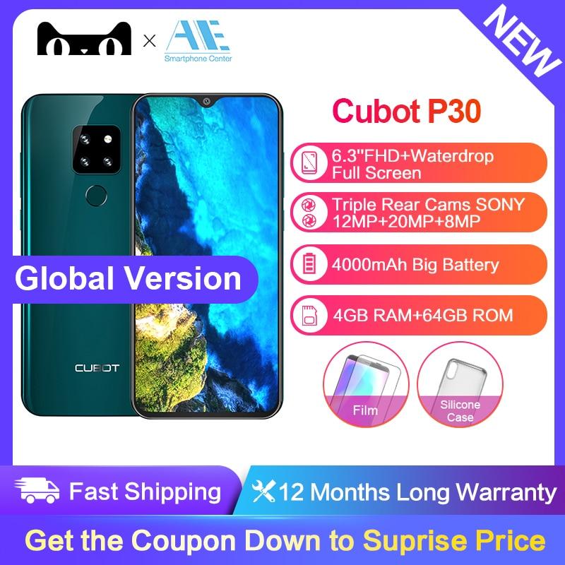 "CubotP30 Android 9.0 4GB+64GB Octa Core Smartphone 6.3"" FHD+ Waterdrop Screen 20MP+12MP+8MP Triple Camera 4000mAh Face ID Phone(China)"