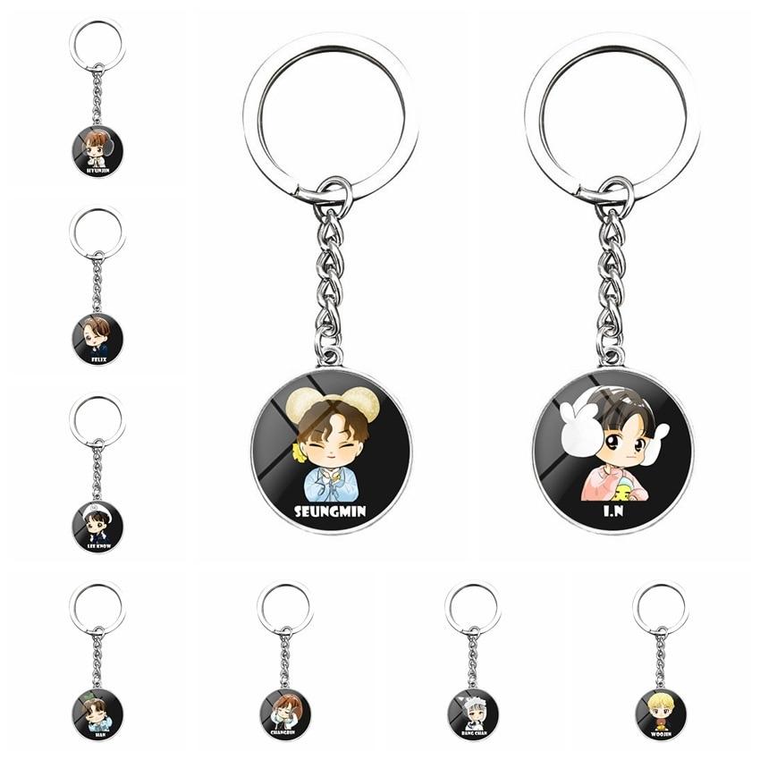 Kpop Stray Kids Keychain Cartoon Cute Gift For Fans Collction Kpop Stray Kids Key Chain Stationery Set New Arrivals