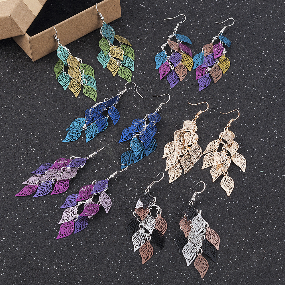 2018 New Women Girl Bohemian Leaves Pendant Dangle Drop Earrings Elegant Party Boho Earring Jewelry