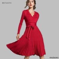 New Fashion Women Elegant Autumn Winter V neck Lace Stitching Long Sleeve Pleated Sweater Knit Dress Elastic Knitted Warm Dress