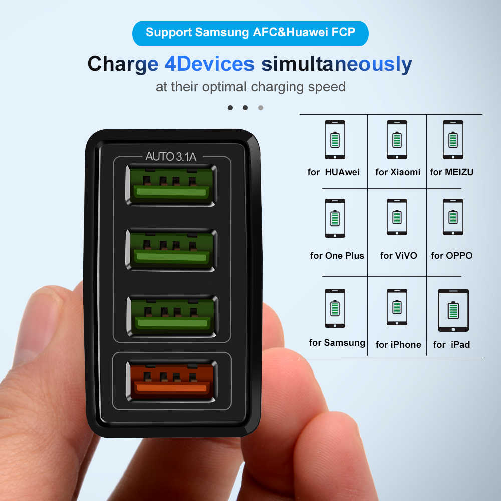 LED Cepat Charger Multi USB Charger untuk Xiaomi untuk Samsung S10 Quick Charge 3.0 Portable Biaya Telepon Adaptor Charger Iphone X XR