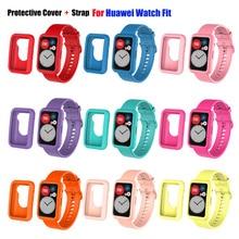 Carcasa protectora de silicona + correa de reloj para el Huawei Watch ajuste inteligente reloj de la correa de muñeca banda pulsera para Huawei Fit