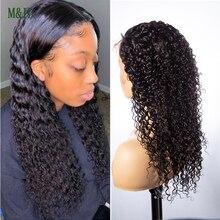 M & H – perruque brésilienne naturelle, cheveux frisés et bouclés, avec bonnet en dentelle HD, pour femmes