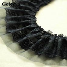 1Meter 2 Layer Black Lace Net Yarn Box Pleat Trims Wedding Dress Neckline Cuff Home Living Curtain DIY 12cm Width