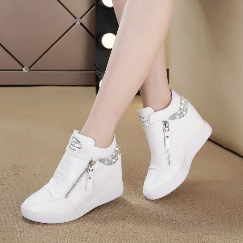 Fashion Sneakers Womens Leather Height Increasing Boots Women High Heel Black White  Bling Zipper Platform Wedge Shoes 2019