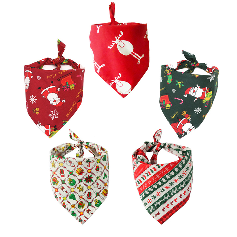 Christmas font b Pet b font Dog Bandana Small Large Dog Bibs Towel Scarf Santa Print