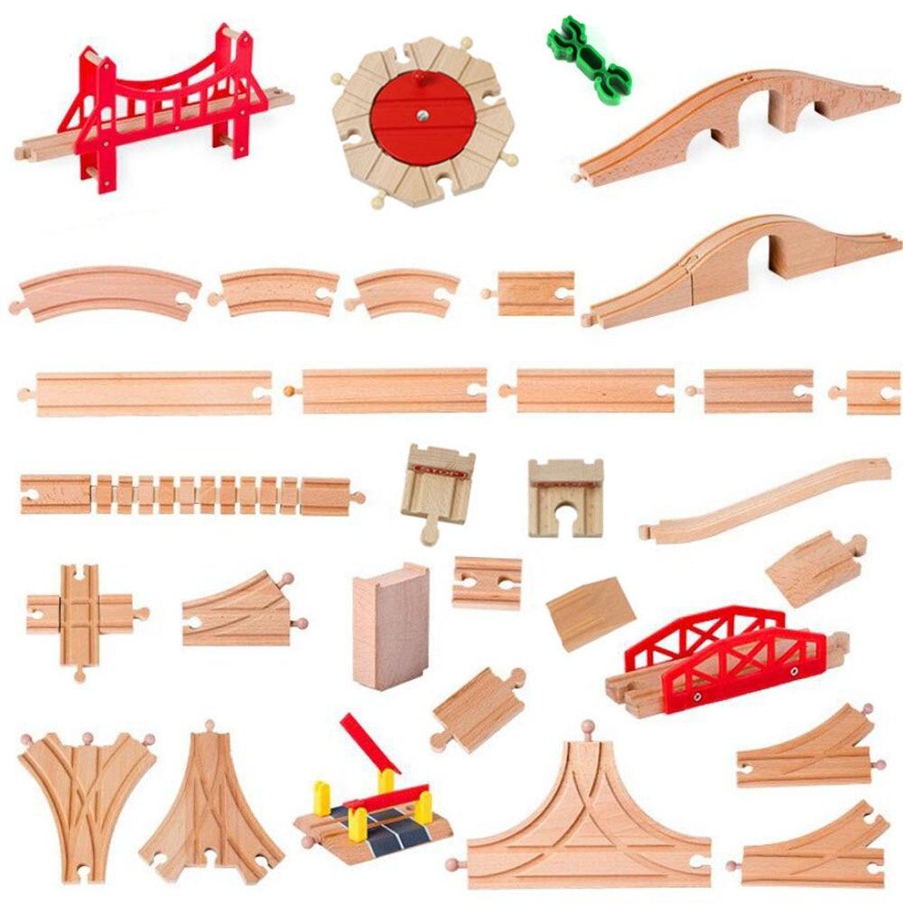 Все виды деревянная железная дорога железнодорожные пути аксессуары Бук деревянная треков Набор Мост Запчасти подходит Biro бренд игрушками...