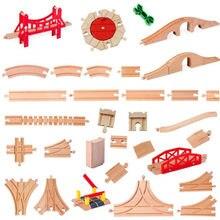 Todos os tipos de madeira acessórios da trilha do trem ferroviário faia faixas de madeira conjunto ponte peças caber biro marca trem brinquedos
