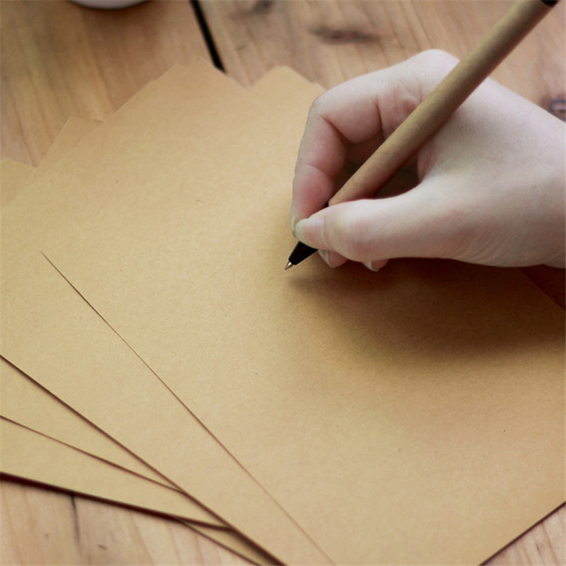 Coloffice 50PCs/Set A4 A5 B5 Blank/Single-sided Lined Retro Vintage Kraft Envelope Paper Stationery Thick Paper Office Supplies
