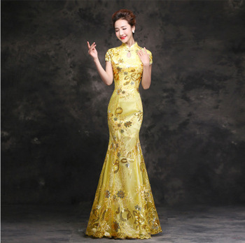 Elegant Women Mermaid Full Length Qipao Evening Party Dress Exquisite Bling Flower Sequins Formal Party Dress Prom Dress