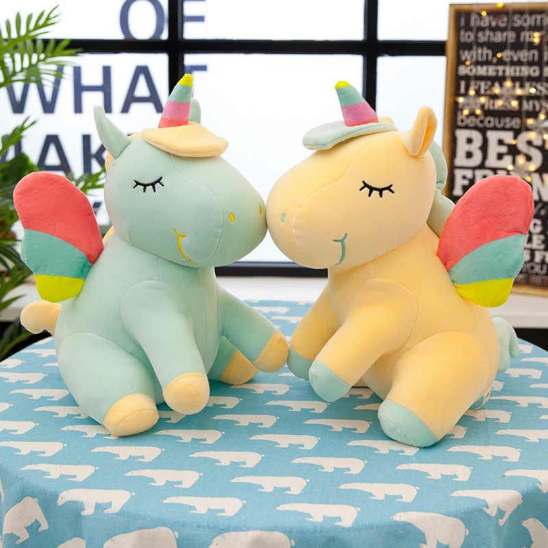 25 Centimetri New Soft Carino Arcobaleno di Stile Unicorno Giocattolo Giocattoli di Peluche Ali di Angelo Animali Cavallo Che I Bambini Bambole Del Bambino Giocattoli di Compleanno regali