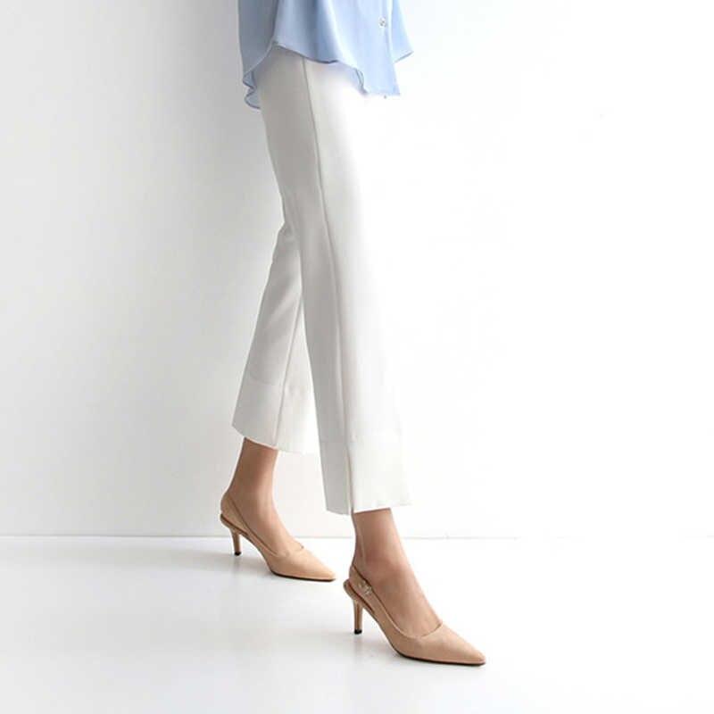 Kadın sandalet yüksek topuklu ayakkabılar kadın yaz akın seksi renkli ince topuk kadın pompaları sivri burun kayışı büyük boy 2020 yeni